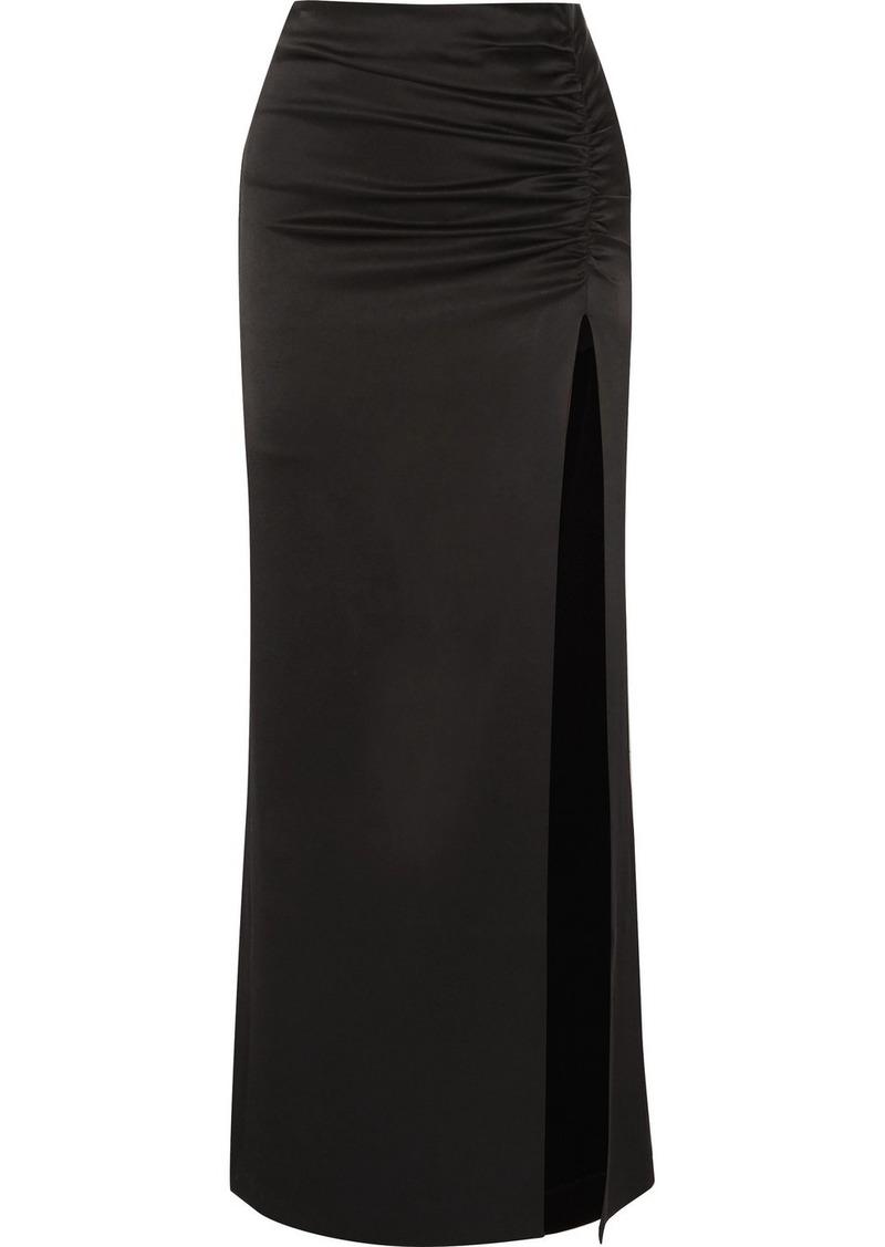 Alice + Olivia Diana Ruched Satin Maxi Skirt