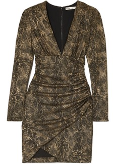 Alice + Olivia Diaz Ruched Metallic Snake-print Crepe Mini Dress