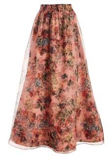 Alice + Olivia Dixie Floral Tulle Silk Maxi Skirt