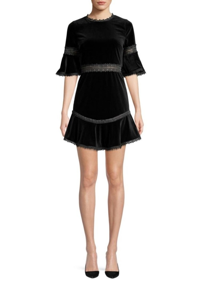Alice + Olivia Doloris Embroidered Velvet Mini Dress