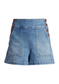 Alice + Olivia Donald Button-Side Denim Shorts