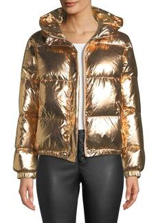 Alice + Olivia Durham Hooded Metallic Puffer Jacket
