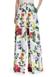 Alice + Olivia Dustin Super Flared Floral-Print Cotton Pants