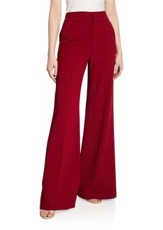 Alice + Olivia Dylan High-Waist Wide-Leg Pintucked Pants