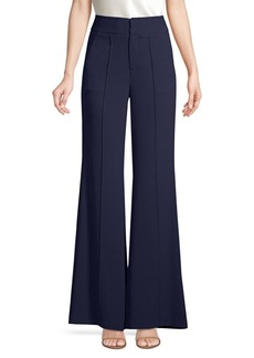 Alice + Olivia Dylan Relaxed High-Waist Wide Leg Flare Pintuck Pants