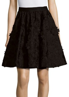 Alice + Olivia Earla Floral Lace Embroidered A-Line Skirt
