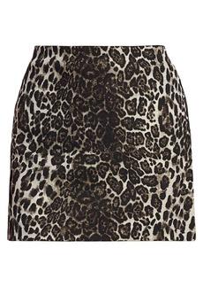 Alice + Olivia Elana Leopard Print Mini Skirt