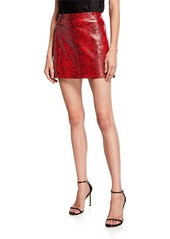 Alice + Olivia Elana Snake-Print Lambskin Leather Mini Skirt