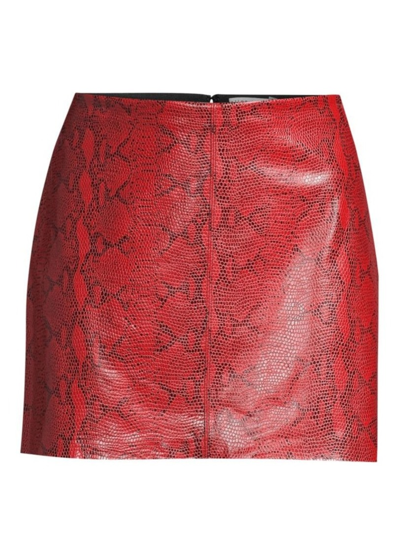 Alice + Olivia Elana Snakeskin-Print Leather Mini Skirt