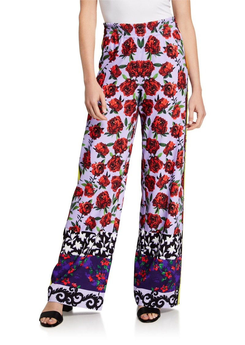 Alice + Olivia Elba Printed Wide Waistband Pants