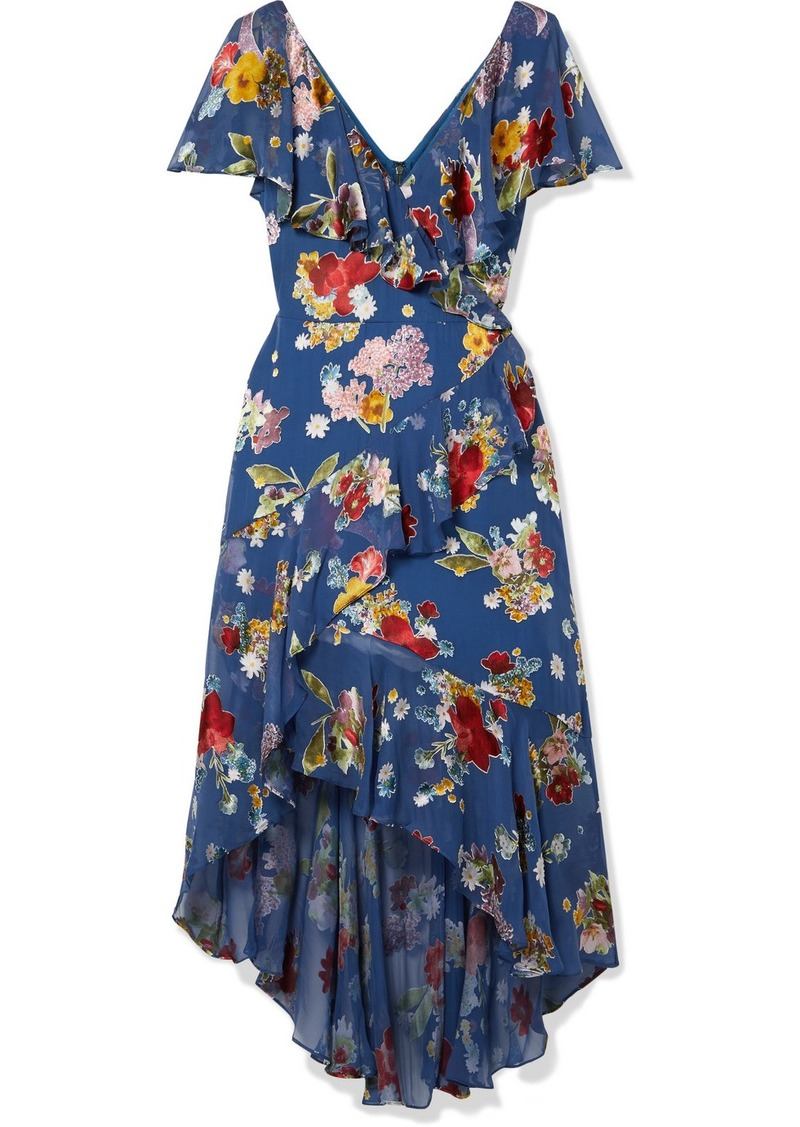 Alice + Olivia Electra Asymmetric Floral-print Fil Coupé Chiffon Dress