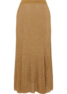 Alice + Olivia Elissa Ribbed Lurex Midi Skirt