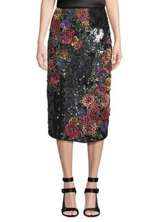 Alice + Olivia Ella Embellished Clean-Waist Straight Midi Skirt