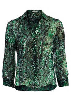 Alice + Olivia Eloise Animal-Print Silk Blouse