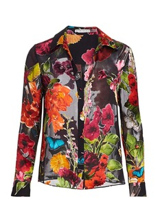 Alice + Olivia Eloise Floral Chiffon-Silk Blouse