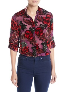 Alice + Olivia Eloise Mandarin-Collar Button-Front Floral-Burnout Blouse