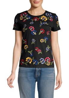 Alice + Olivia Rainbow Floral & Face Embroidered T-Shirt