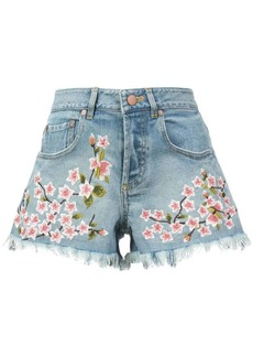 Alice + Olivia embroidered blossom shorts