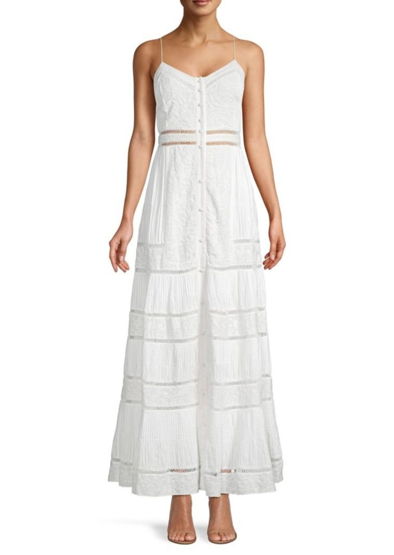 Alice + Olivia Embroidered Cotton-Blend Maxi Sundress