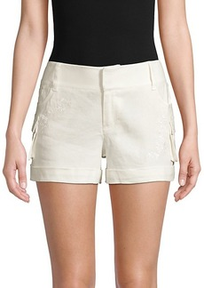 Alice + Olivia Embroidered Linen-Blend Cargo Shorts