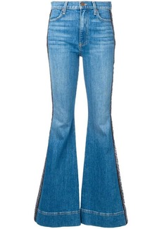 Alice + Olivia embroidered stripe flared jeans