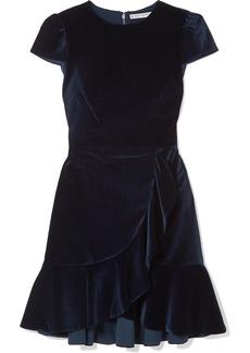 Alice + Olivia Enid Ruffled Velvet Mini Dress