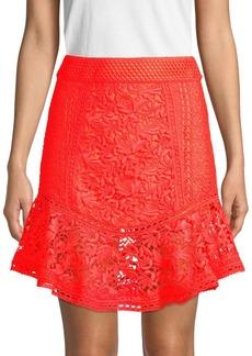 Alice + Olivia Eriko Flounce Hem Lace Skirt