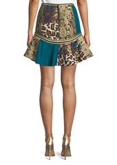 Alice + Olivia Eriko Mixed-Print Flounce Mini Skirt