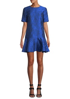 Alice + Olivia Esther Short-Sleeve Ruffle-Hem Tunic Dress