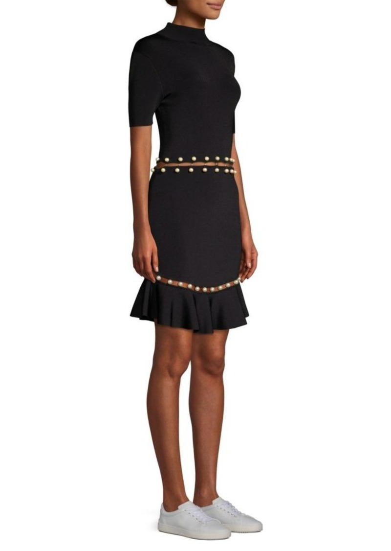 Alice + Olivia Evelyn Faux Pearl Fit-&-Flare Dress