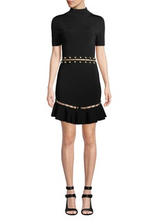 Alice + Olivia Evelyn Mock-Neck Short-Sleeve Fit-and-Flare Dress