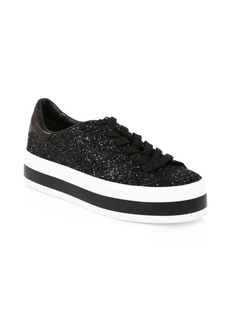Alice + Olivia Ezra Glitter Leather Platform Sneakers