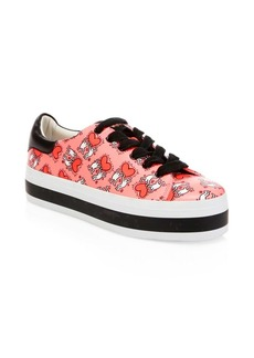 Keith Haring x Alice + Olivia Ezra Love Print Leather Platform Sneakers