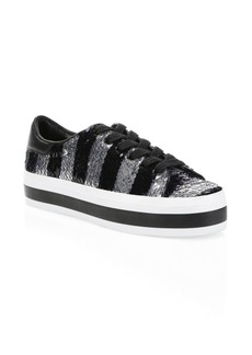 Alice + Olivia Ezra Striped Sequin Sneakers