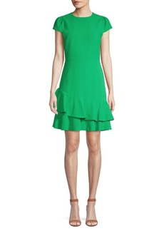Alice + Olivia Fable Asymmetric Ruffle Short-Sleeve Dress