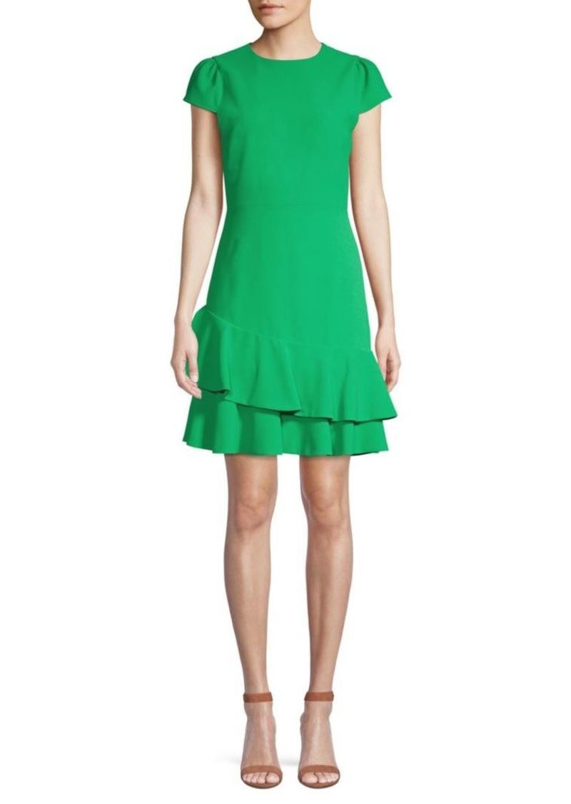 Alice + Olivia Fable Asymmetric Ruffle Short-Sleeve Dress