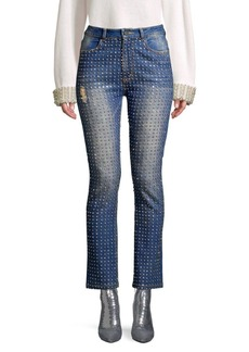 Alice + Olivia Fabrice High-Rise Crystal Embellished Jeans