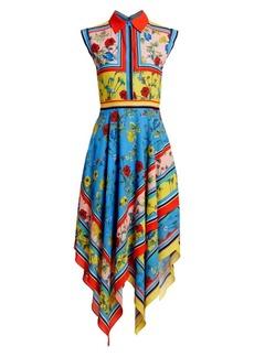 Alice + Olivia Farrah Collared Floral Handkerchief Hem Dress