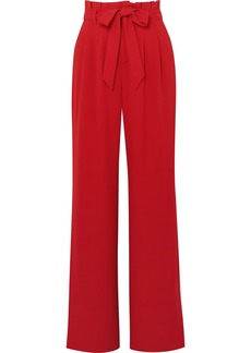 Alice + Olivia Farrel Belted Crepe Wide-leg Pants