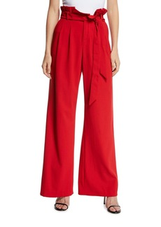 Alice + Olivia Farrel Paperbag-Waist Pleated Pants