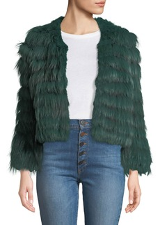 Alice + Olivia Fawn Chevron Fur Jacket
