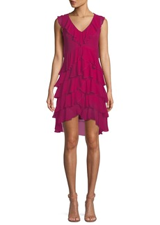 Alice + Olivia Felicita V-Neck Sleeveless Tiered Ruffled Silk Dress