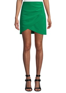 Alice + Olivia Fidela Draped Crepe Mini Skirt
