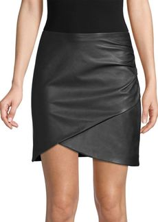 Alice + Olivia Fidela Draped Leather Mini Skirt