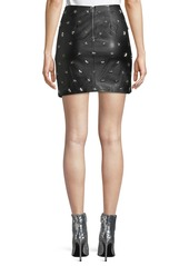Alice + Olivia Fidela Draped Leather Star-Studded Mini Skirt