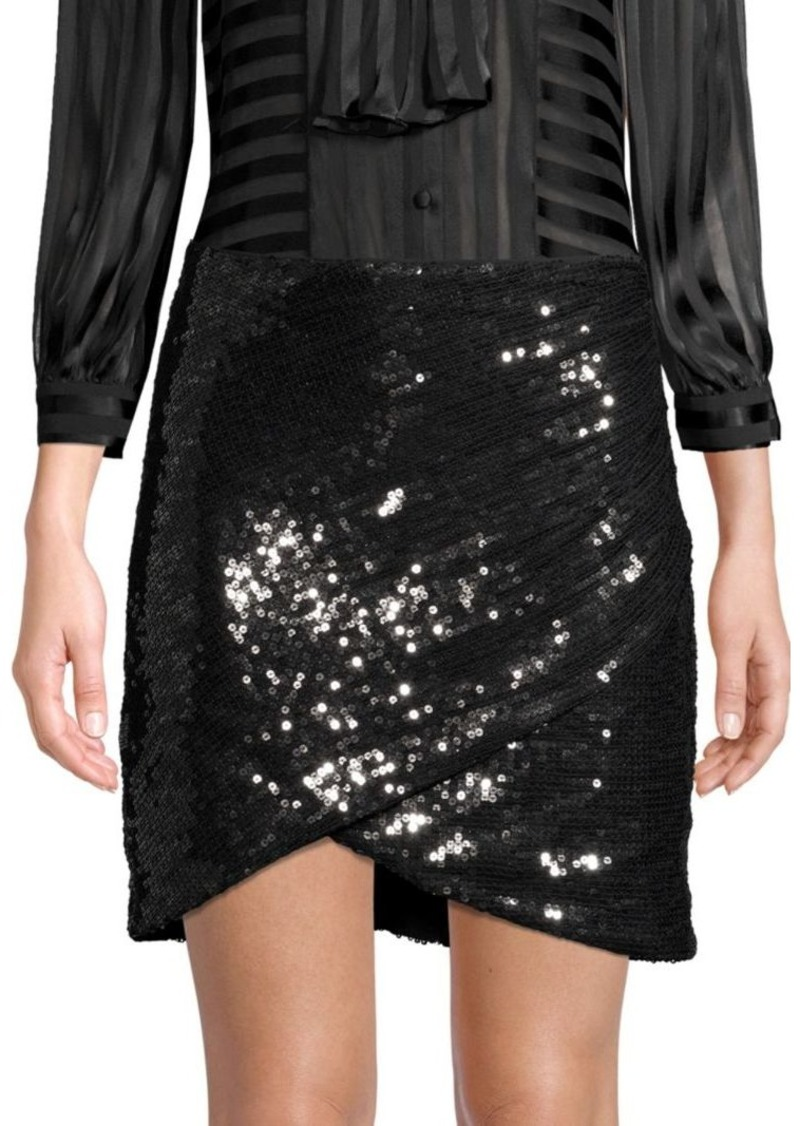 Alice + Olivia Fidela Faux Wrap Sequin Skirt