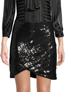 Alice + Olivia Fidela Faux Wrap Sequined Skirt