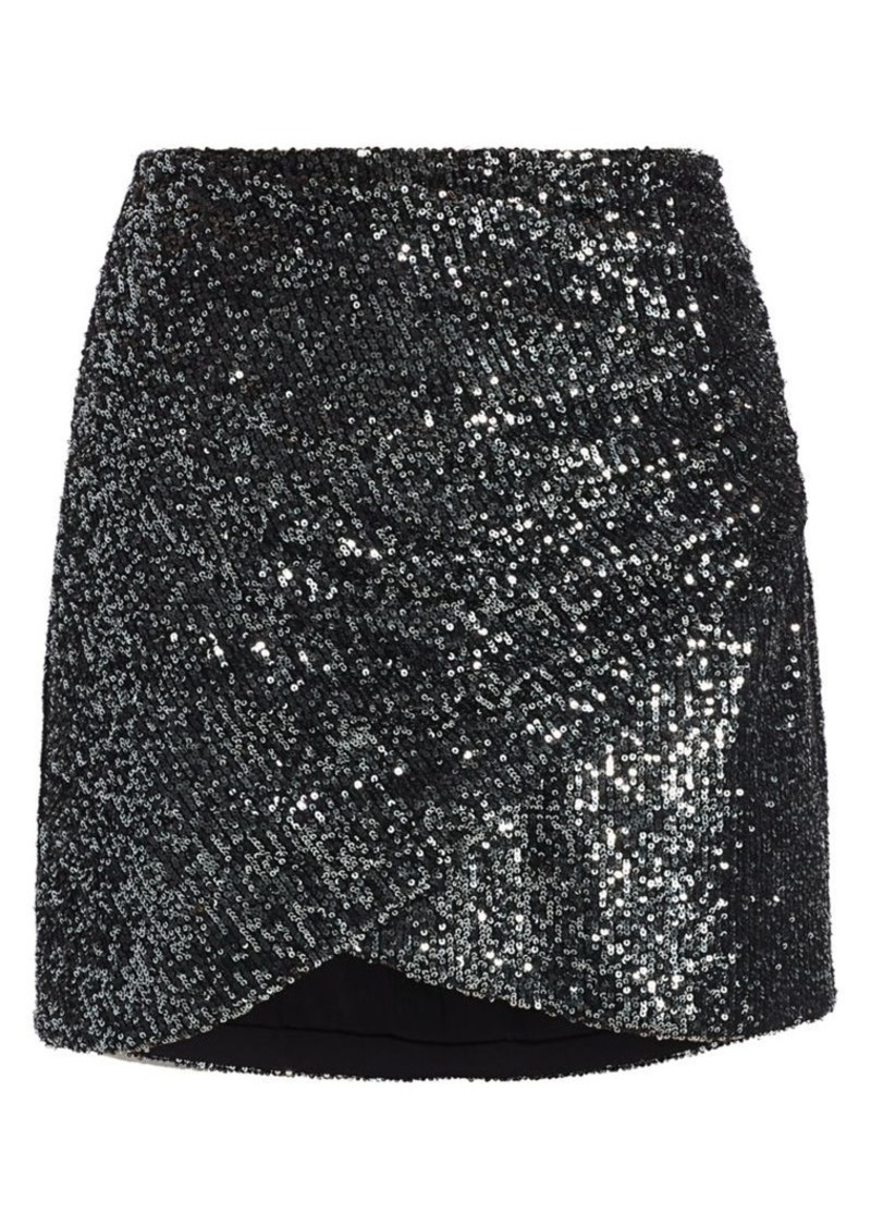Alice + Olivia Fidela Sequin Draped Mini Skirt