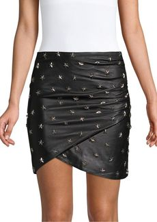 Alice + Olivia Fidela Stud Drape Leather Mini Skirt