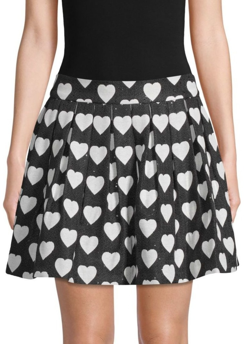 Alice + Olivia Fizer Heart-Print Pleated Skirt